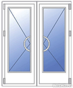 входные двухстворчатые двери из пвх