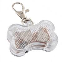 Светодиодный брелок-адресник для собак Косточка, розовый